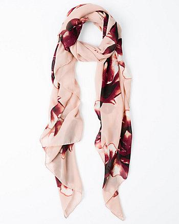 Floral Print Silk-Like Scarf