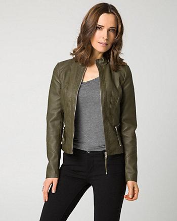 Pebble Leather-Like Motorcycle Jacket