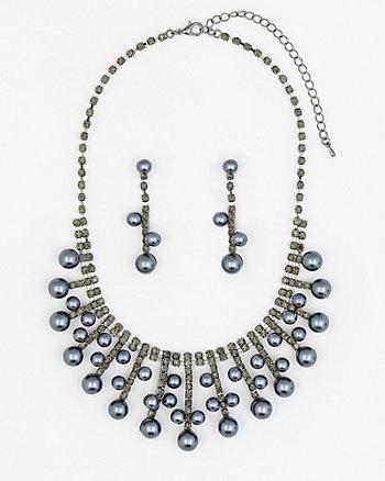 Gem & Pearl-Like Earrings & Necklace Set