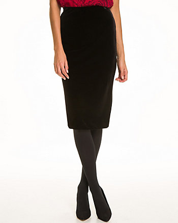 Velvet High Waist Midi Pencil Skirt