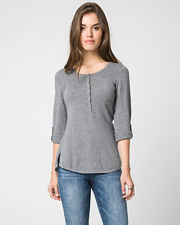 Cotton Henley Neck Sweater
