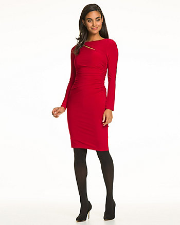 Knit Boat Neck Cocktail Dress