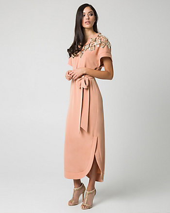 Crêpe de Chine & Beaded V-Neck Gown
