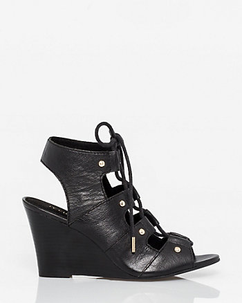 Leather Ghillie Tie Wedge Shootie