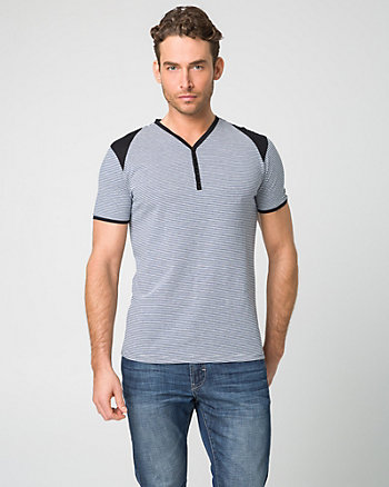 Stripe Cotton Henley Top