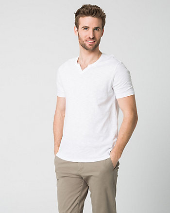Cotton Slub Johnny Collar T-Shirt