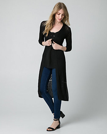 Pointelle Open-Front Duster