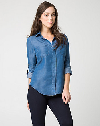 Lyocell Button-Front Shirt