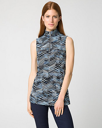 Chevron Knit Crêpe Mock Neck Top