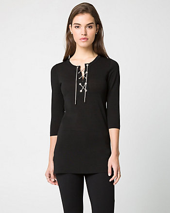 Viscose Blend Lace-Up Tunic Sweater