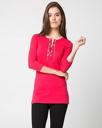 Viscose Blend Lace-Up Tunic Sweater