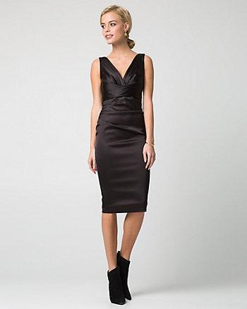 Satin V-Neck Cocktail Dress