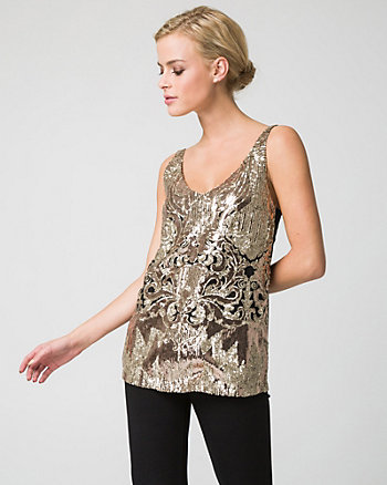 Image result for le chateau Sequin & Knit V-Neck Camisole