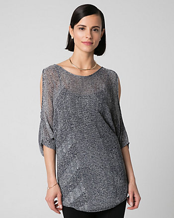 Metallic Knit Cold Shoulder Sweater