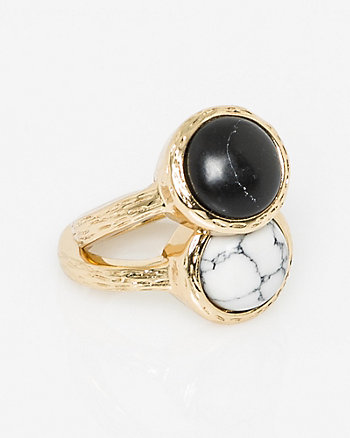Set of Two Semi-Precious Stone Rings