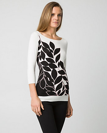 Floral Print Viscose Blend Boat Neck Sweater