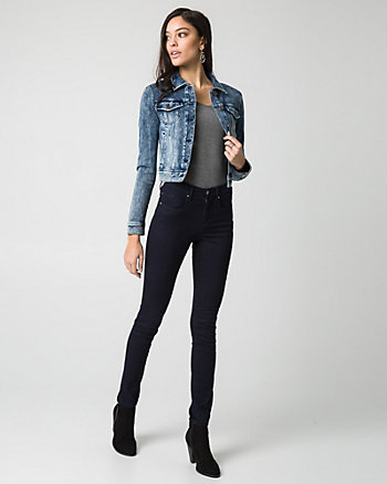 Stretch Denim Button-Front Jacket