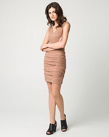 Mélange Rib Knit V-Neck Mini Dress