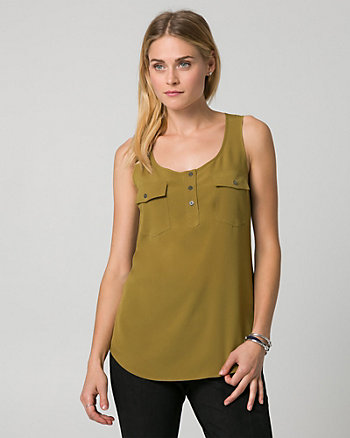 Crêpe de Chine Scoop Neck Blouse