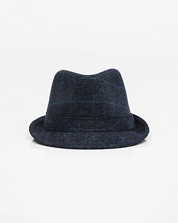 Check Print Flannel Fedora Hat