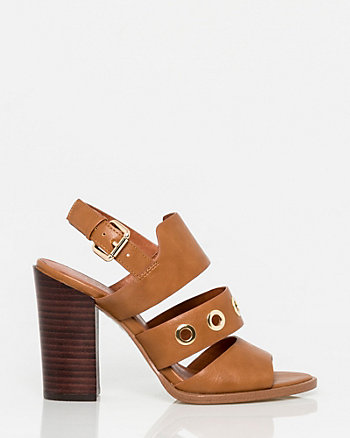 Leather-Like Open Toe Slingback