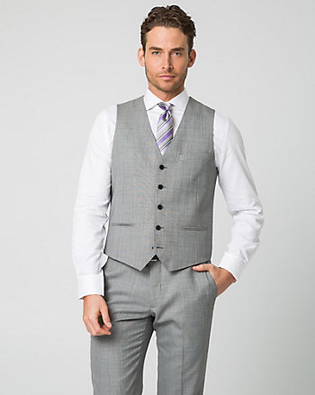 Tonal Wool Blend Contemporary Fit Vest