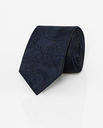Tonal Paisley Print Silk Tie
