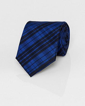 Check Print Silk Tie