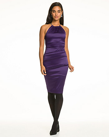 Stretch Satin Halter Neck Cocktail Dress