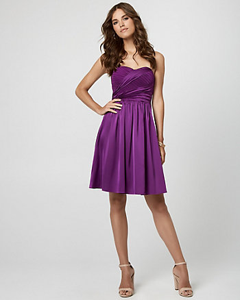 Stretch Satin Sweetheart Cocktail Dress