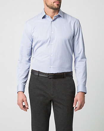 Stripe Cotton Blend Tailored Fit Shirt