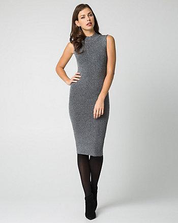 Lurex Knit Mock Neck Midi Dress