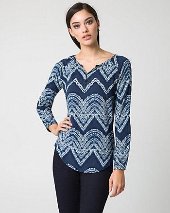 Batik Print Challis V-Neck Blouse