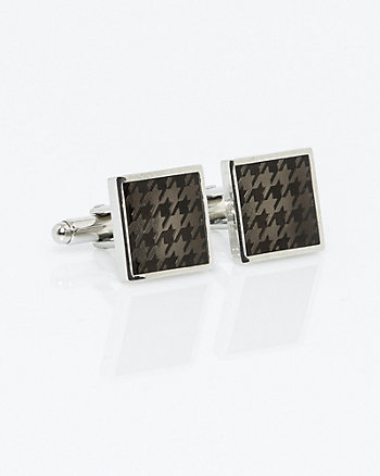Plaid Engraved Metal Cufflinks