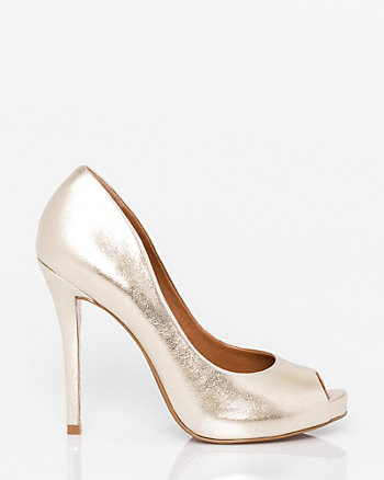 Brazilian-Made Leather Peep Toe Pump