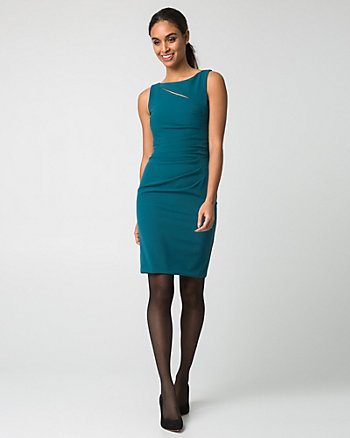 Double Weave Cutout Shift Dress