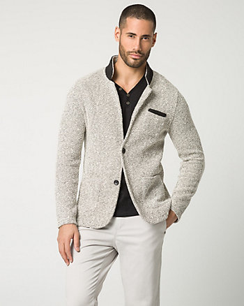 Two-Tone Knit Slim Fit Blazer