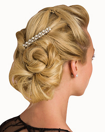 Metal & Pearl-Like Hair Comb