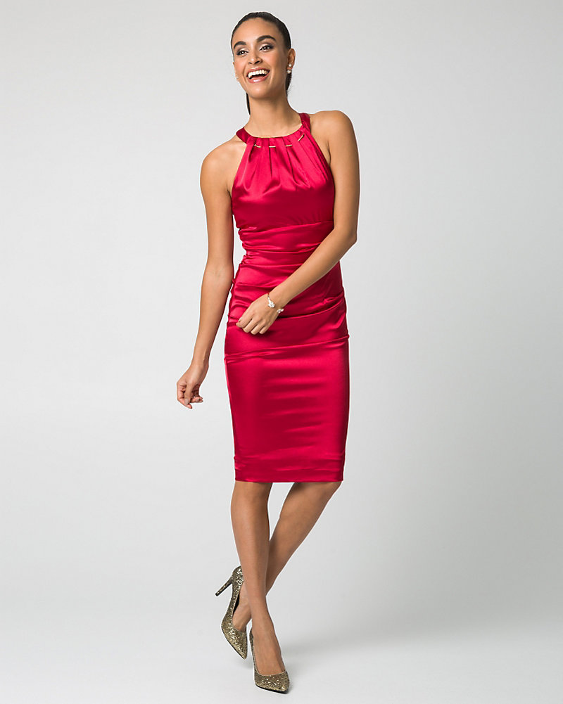 Satin Halter Neck Cocktail Dress | LE CHÂTEAU