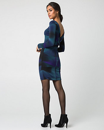 Geo Print Knit Cowl Back Mini Dress