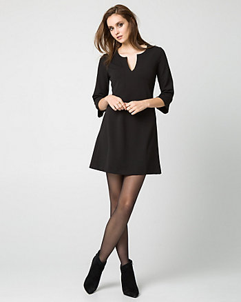 Knit Crêpe Split V-Neck Tunic Dress