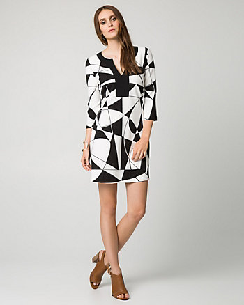 Geo Print Knit Crêpe Tunic Dress