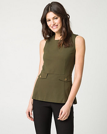 Ponte Crew Neck Peplum Top