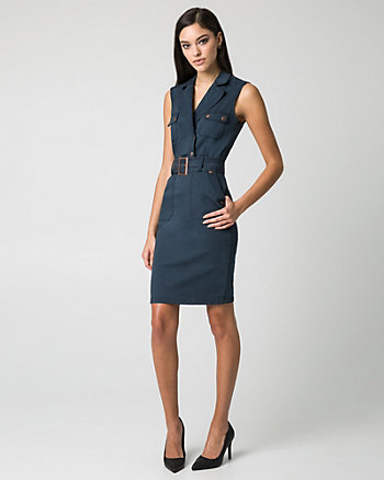 Denim Notch Collar Shirtdress