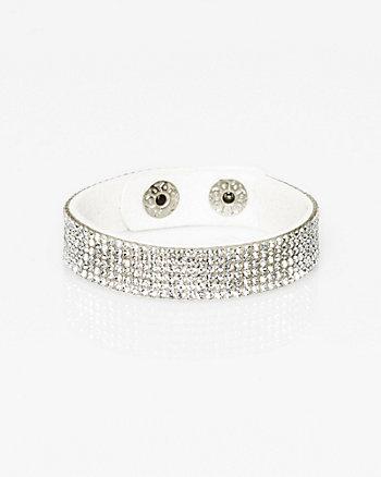 Faux Suede & Gem Snap Bracelet