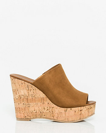 Suede-Like Open Toe Wedge Slide Sandal
