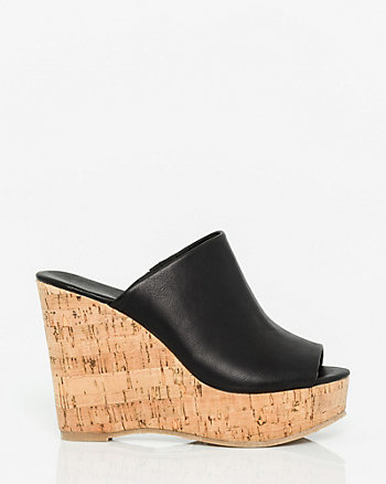 Leather-Like Open Toe Wedge Slide Sandal