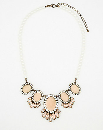 Faceted Gem & Pearl-Like Necklace