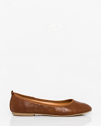 Leather-Like Ballerina Flat