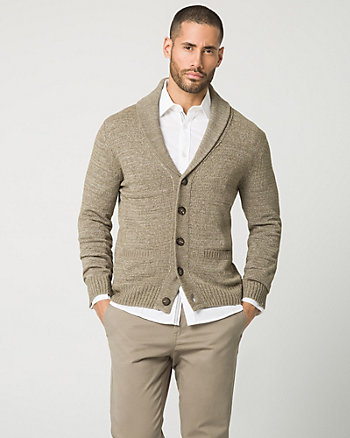 Tape Yarn Shawl Collar Cardigan